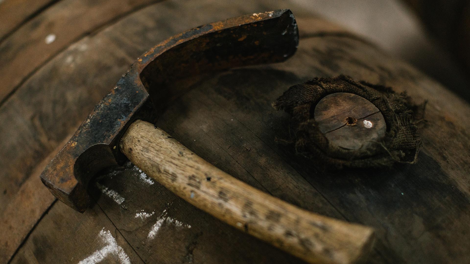 Glen Moray whisky barrel and tools