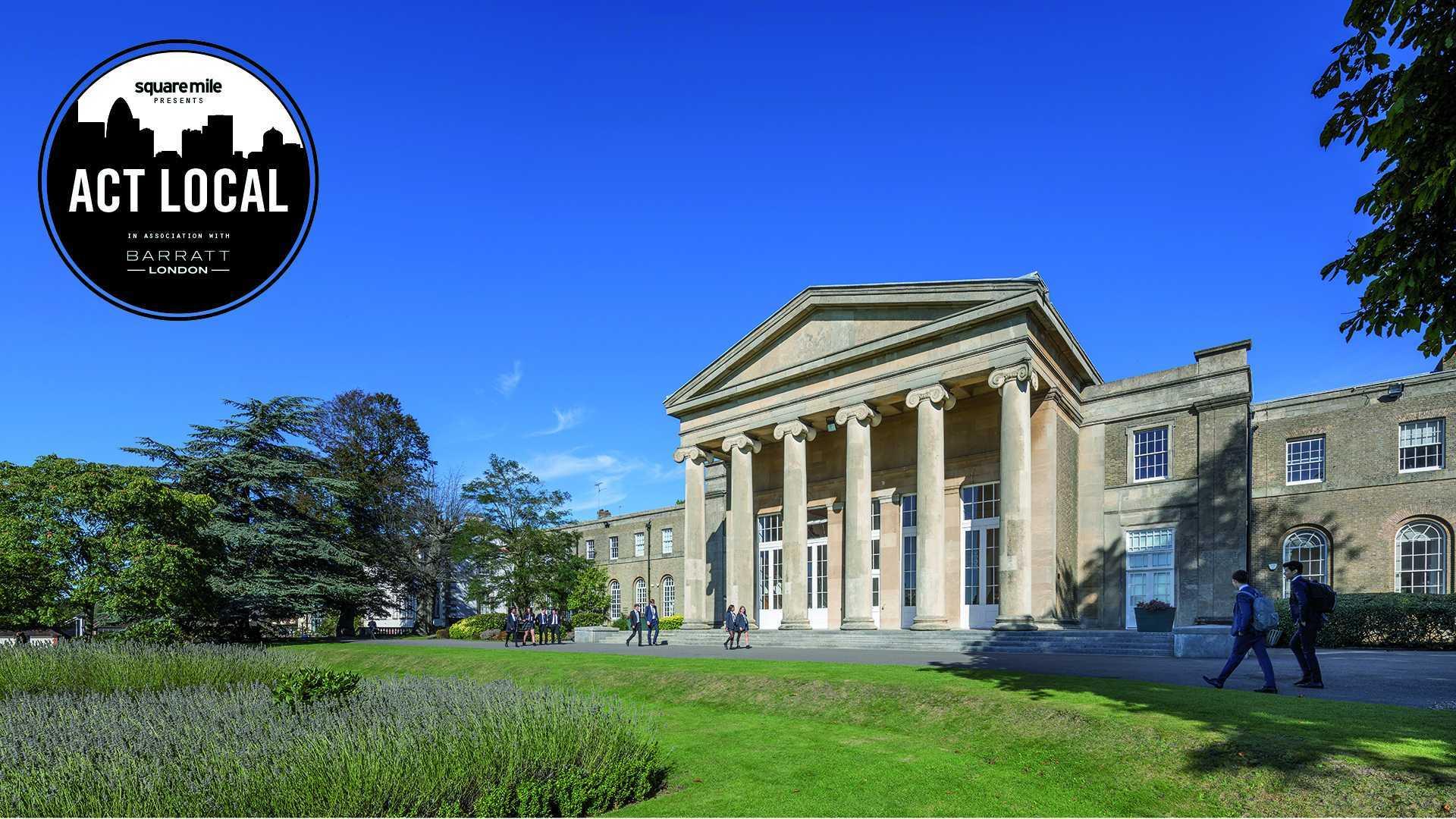 Mill Hill School exterior shot of main entrance