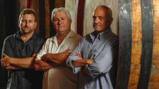 Lawrence Cronin, Pierre Seillan and Michele Pezzicoli – the winemaking team at Tenuta di Arceno.