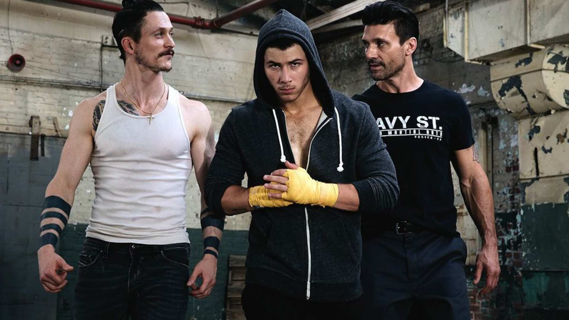 Jonathan Tucker, Nick Jonas and Frank Grillo in Kingdom