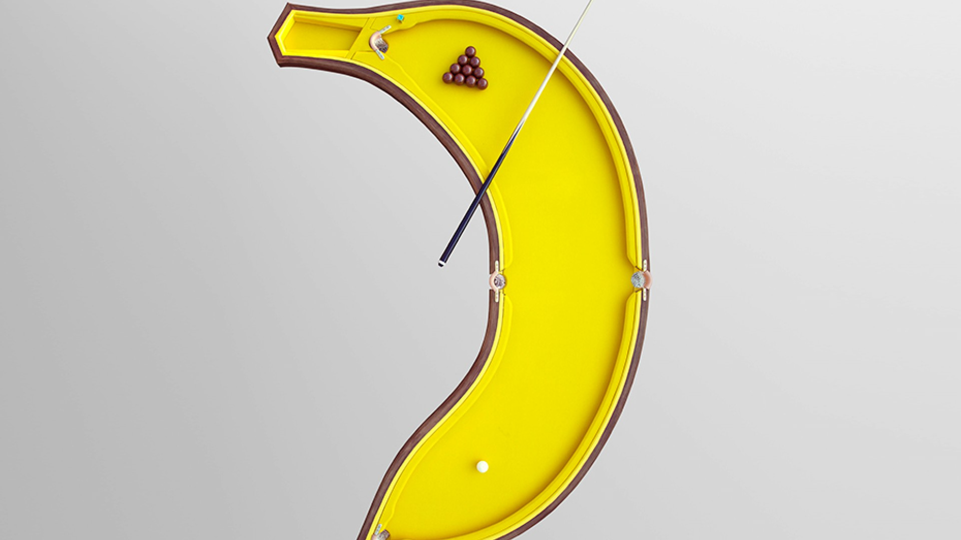"BANANA POOL TABLE, £6,000,  <a href=""http://cleondaniel.com/?project=banana_pool"" target=""_blank"">CLEONDANIEL.COM</a>"