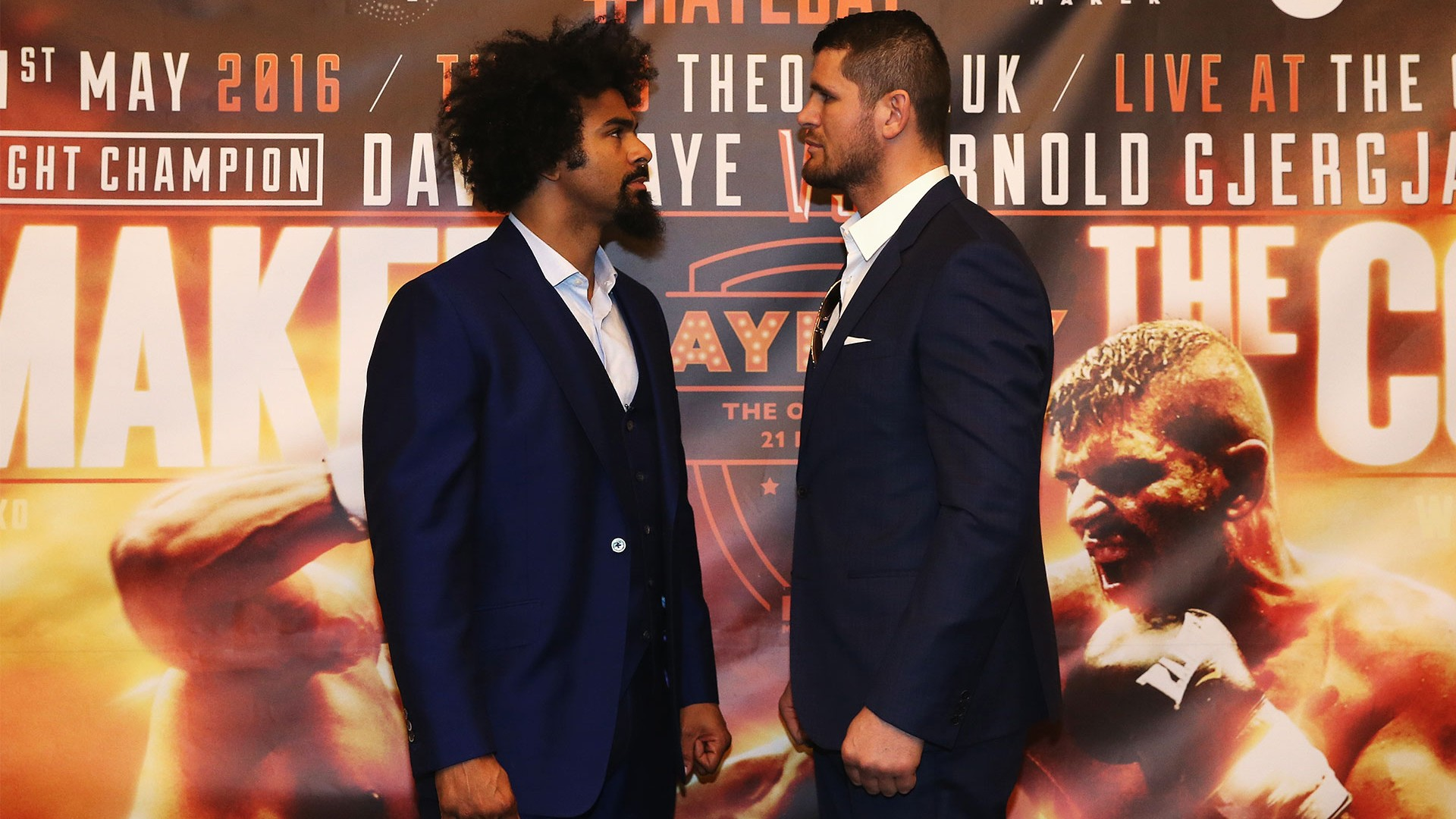 David Haye and Arnold Gjergjaj at pre-fight press conference