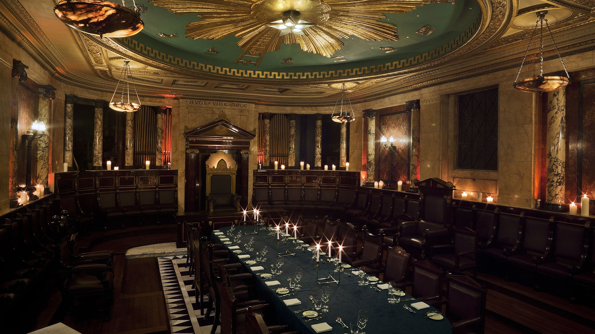 Private dining table at the Masonic Temple at Andaz hotel