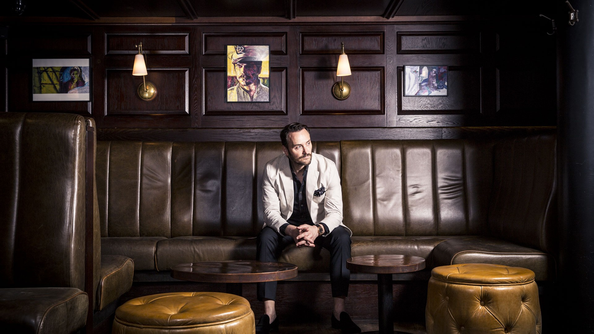 Jason Atherton chef and restauranteur in The Blind Pig bar