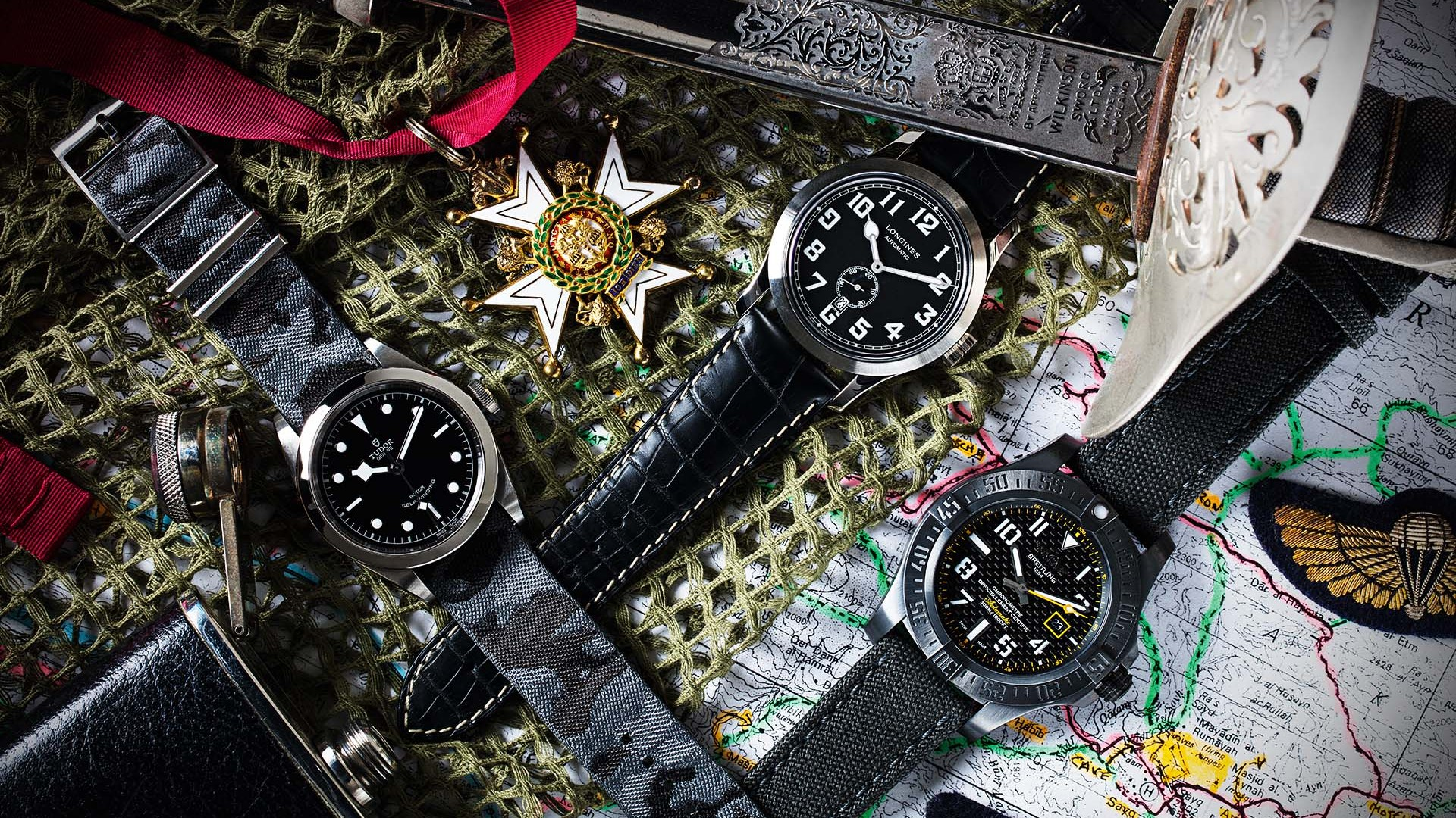 Military watches by Tudor, Longines and Breitling