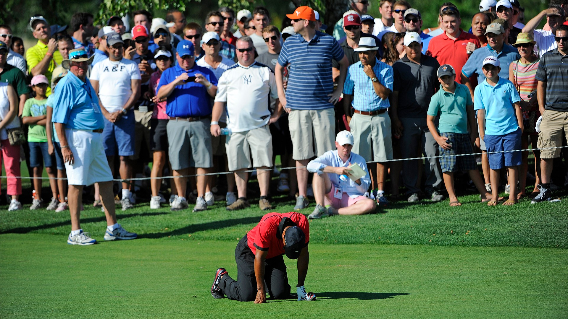 Tiger Woods list of injuries, back injury, The Barclays 2013