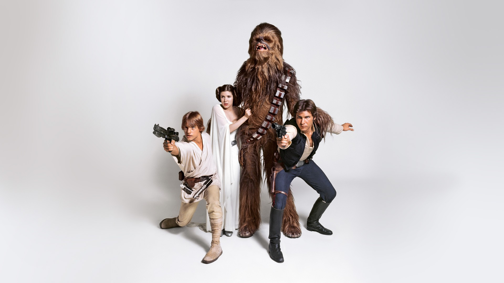Luke Skywalker (Mark Hamill), Princess Leia (Carrie Fisher), Chewbacca (Peter Mayhew), and Han Solo (Harrison Ford)