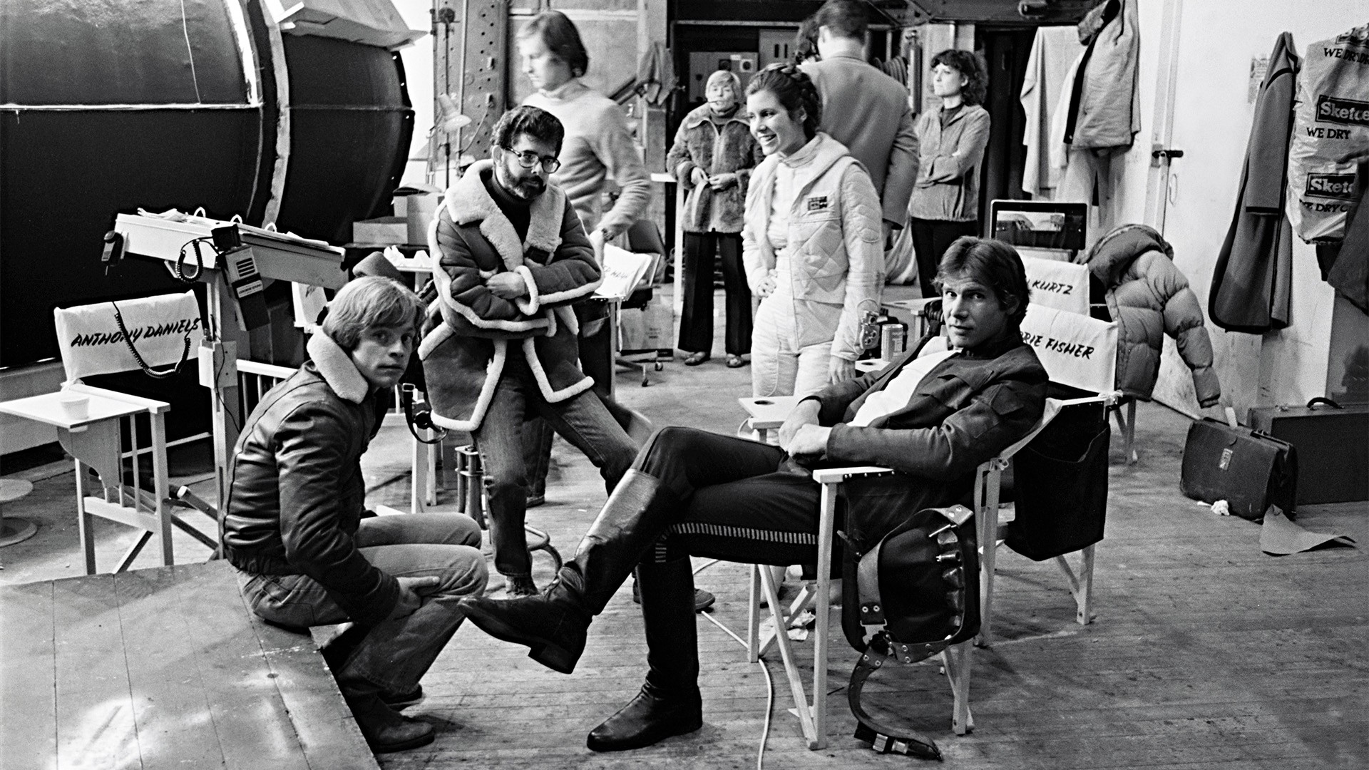 Mark Hamill, George Lucas, Carrie Fisher, and Harrison Ford