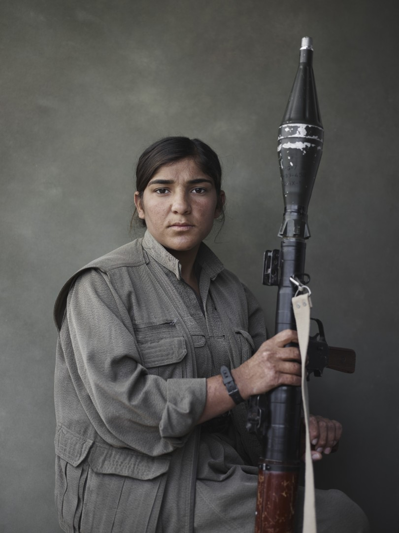 Portrait of Sarya with rocket-propelled grenade launcher