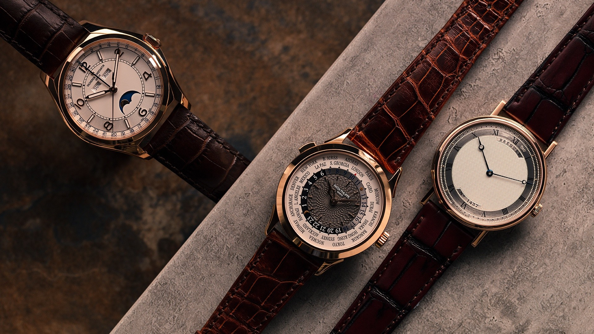 World's best rose gold watches: Vacheron Constantin FiftySix Complete Calendar; Patek Philippe 5230R World Time, and; Breguet Classique Extra-Thin 5157