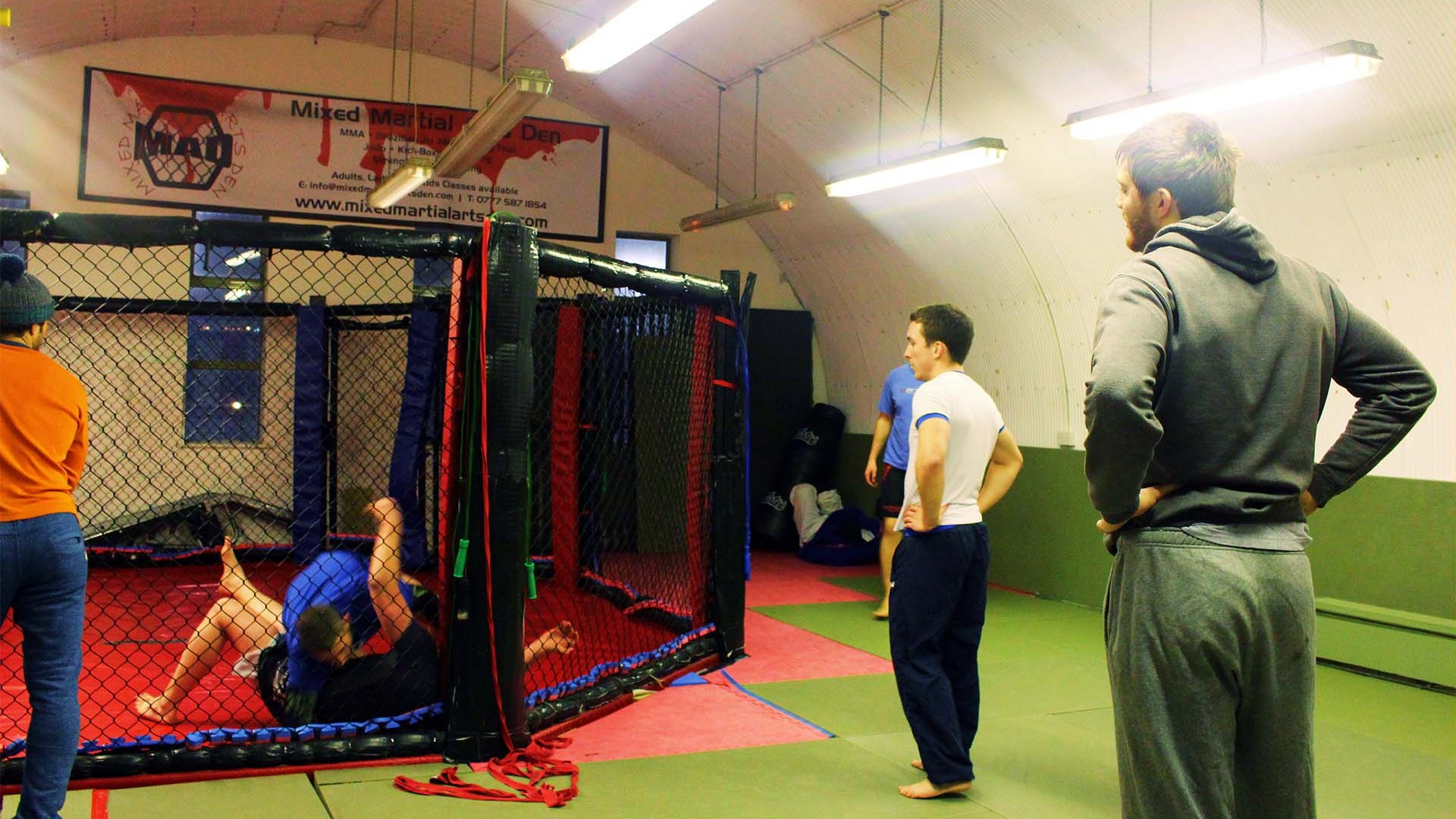 People training in MMA Cage at MMA Den Battersea London