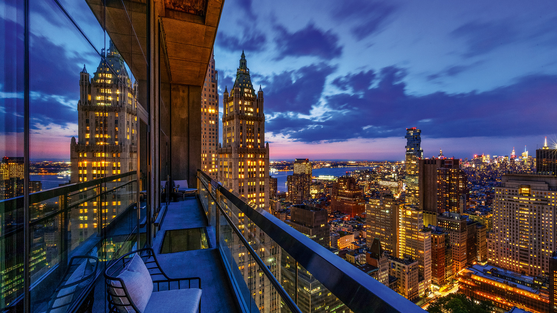 The balcony at The Beekman Hotel and Residences