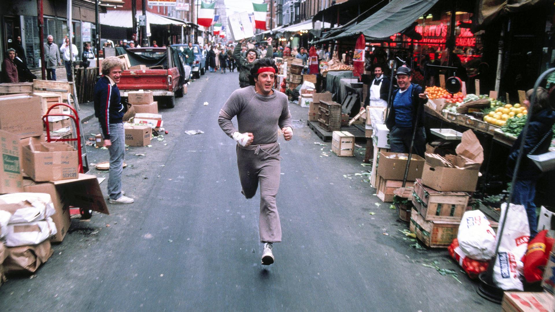 Rocky Balboa in Rocky II sporting a Russell Athletic sweatshirt