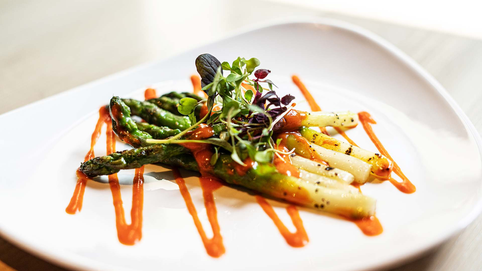 Grilled Asparagus with honey and mustard vinaigrette