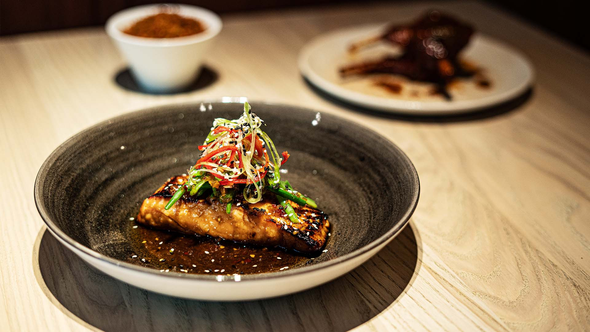 Honey glazed salmon supreme with Kenyan green beans and ginger, chilli, lime, soy and sesame dressing