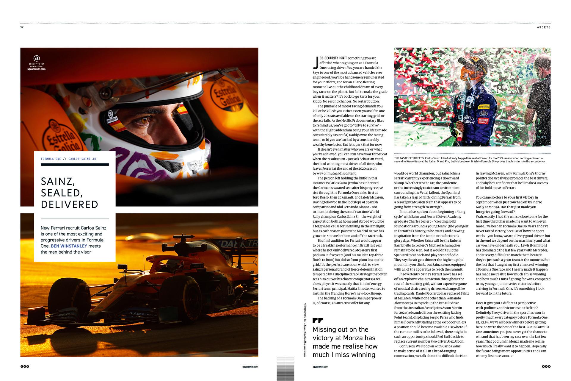 Carlos Sainz for Square Mile magazine