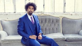 David Haye models blue Timothy Everest suit