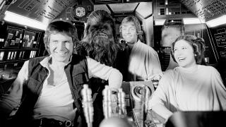 Harrison Ford, Peter Mayhew, Mark Hamill, and Carrie Fisher