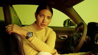 Model wearing IWC x AMG watch