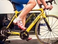 Man riding a virtual track bike