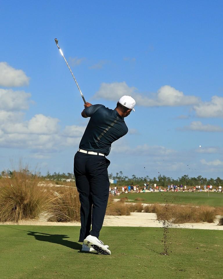 Tiger Woods playing at the Hero World Challenge 2017 at Albany, Bahamas