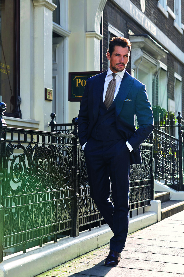 David Gandy models Poole's 170th anniversary cloth.