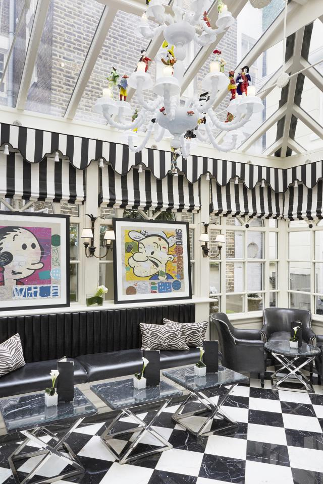 The Milestone Hotel conservatory complete with art deco touches