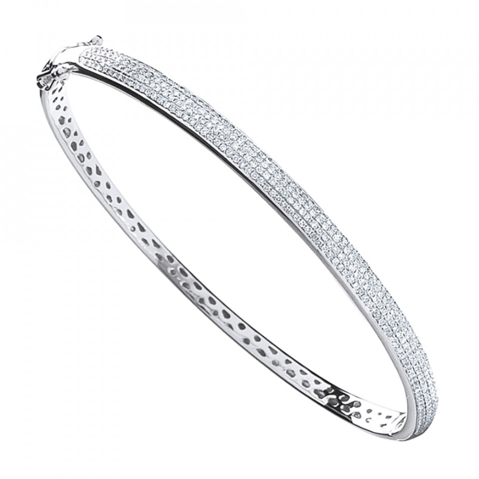 London DE 9ct white gold pave set diamond bangle, £999