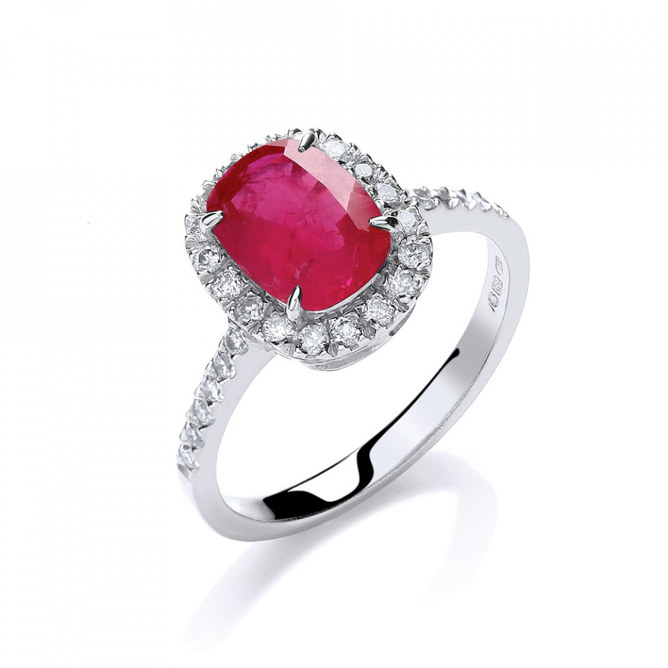 London DE 18ct white gold diamond ruby ring, £1,199