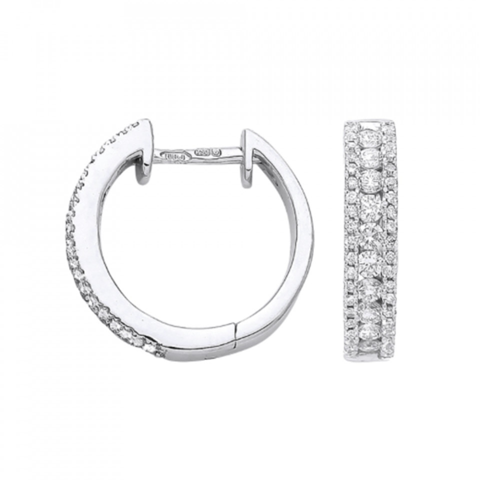 London DE 18ct white gold diamond hoop earrings, £999