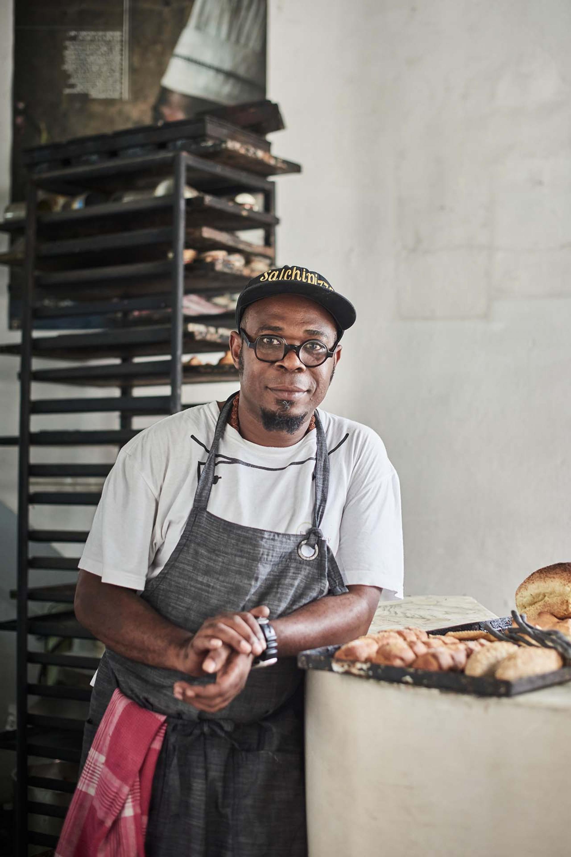 Alberto González in his bakery