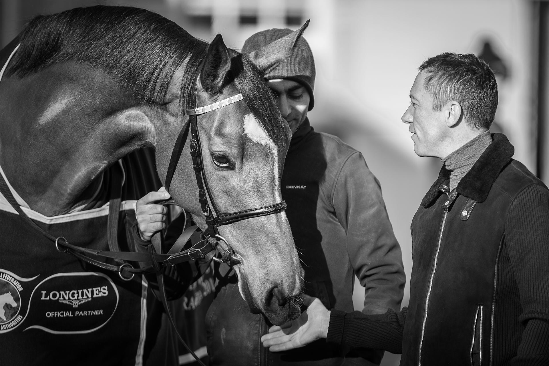 Enable and jockey Frankie Dettori at Clarehaven Stables, Newmarket