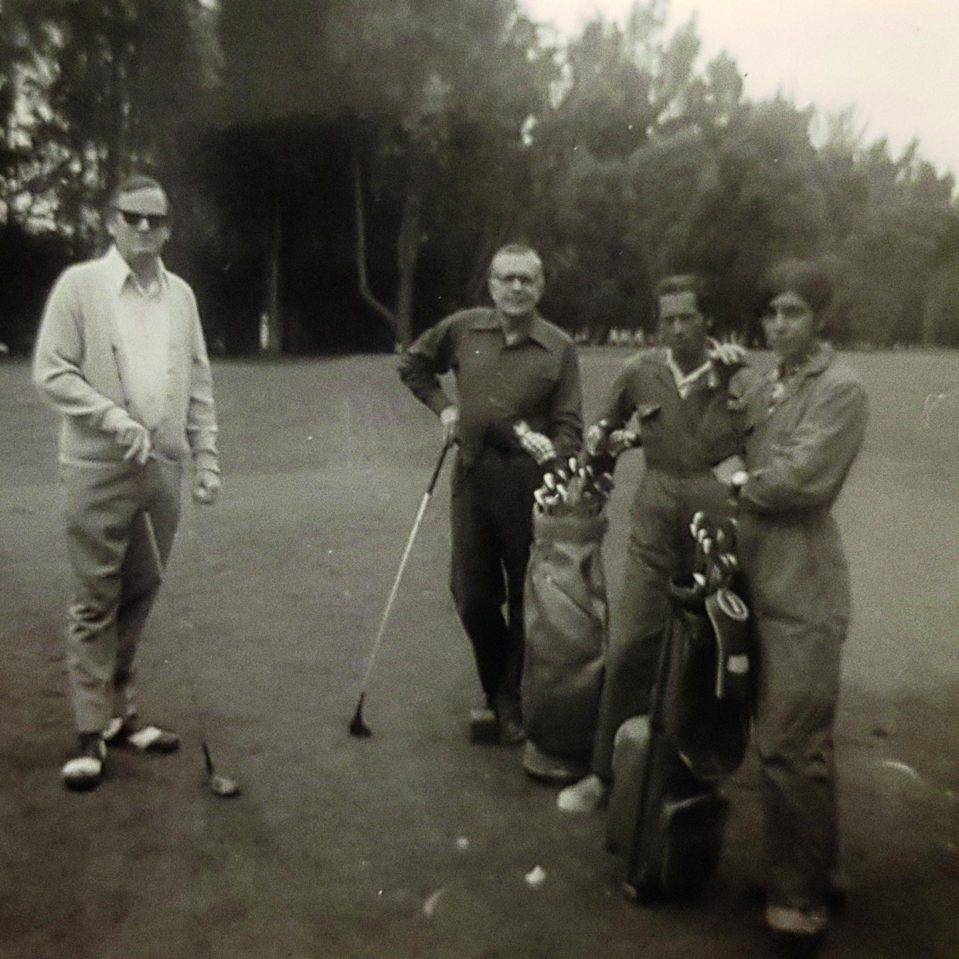 """Patrick Witcomb (left) with Clem Chalk (""""Chalkie"""") the quartermaster (centre)."""