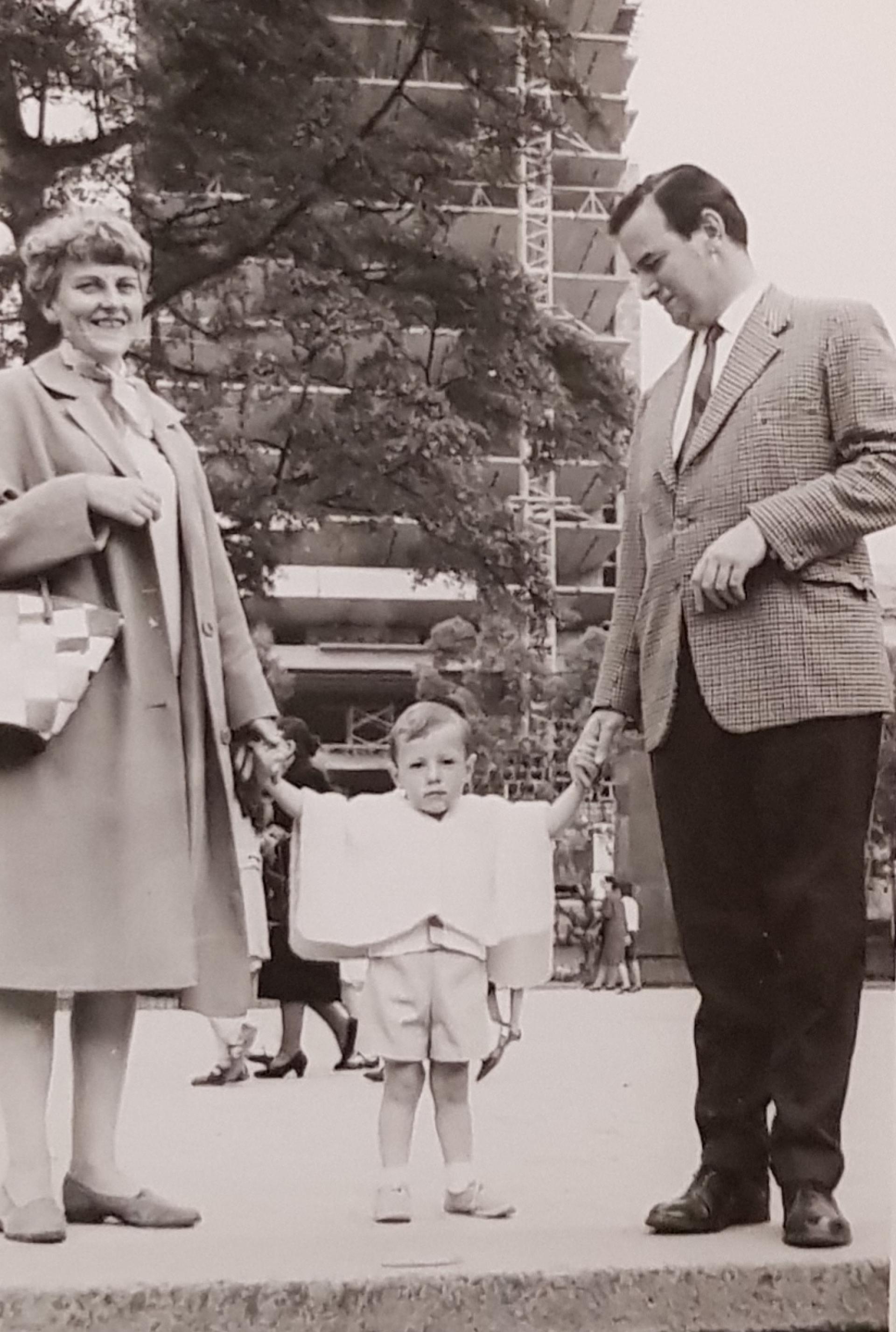 Phillip with Joan Witcomb and Patrick Witcomb, Bogota 1968.