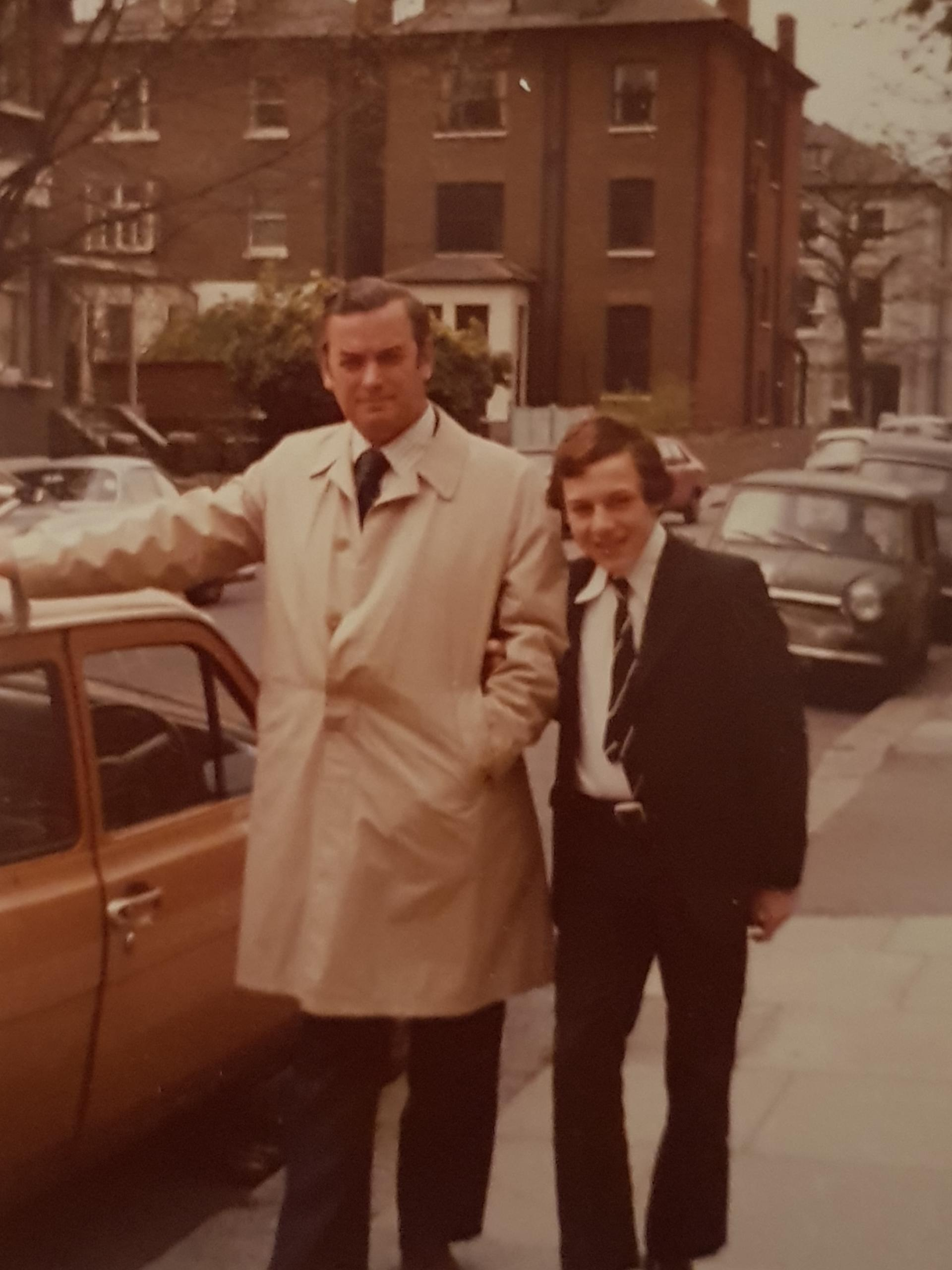 Phillip and his dad outside his grandmother's house in Swiss Cottage London, 1977.