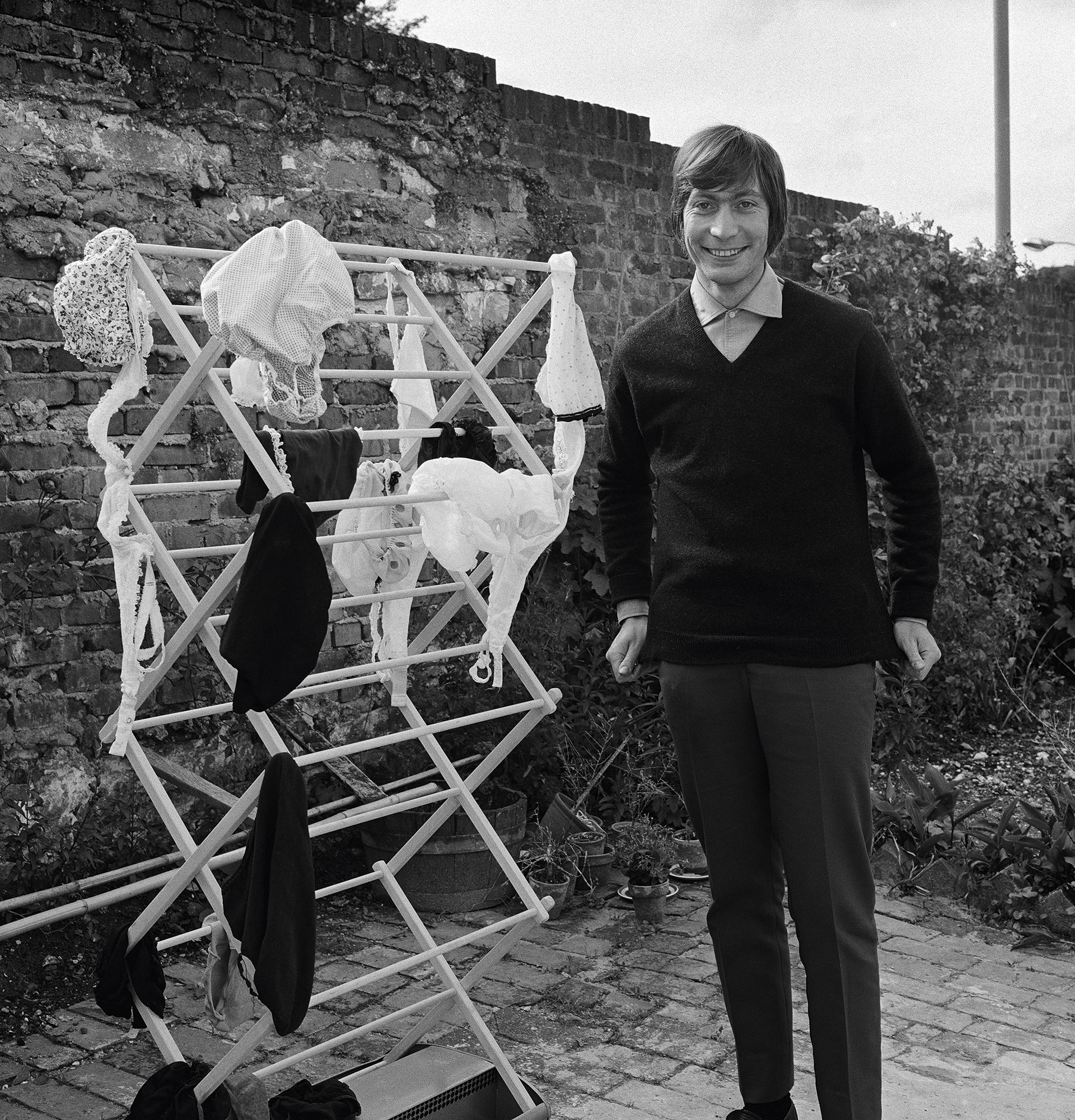 Charlie Watts with the washing in Lewes, Sussex