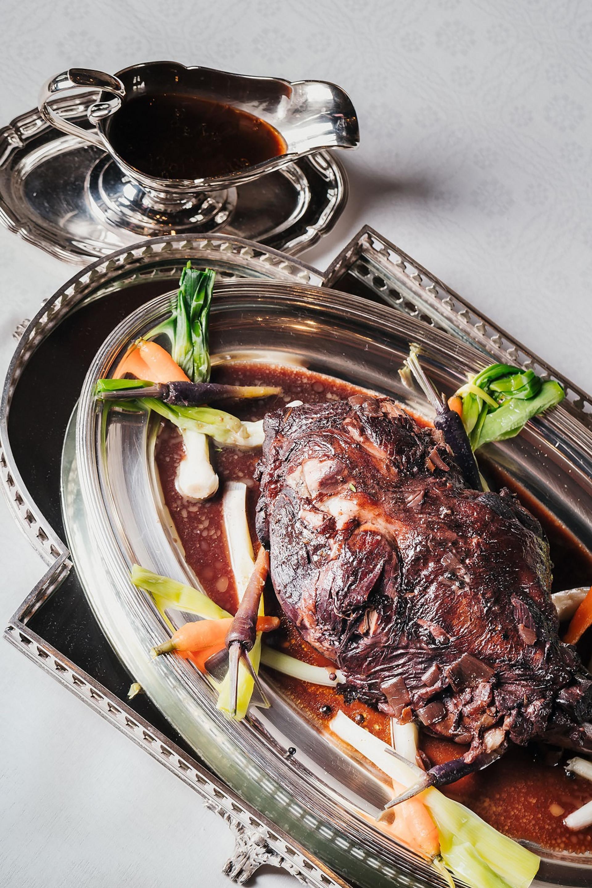 Slow-roasted leg of lamb