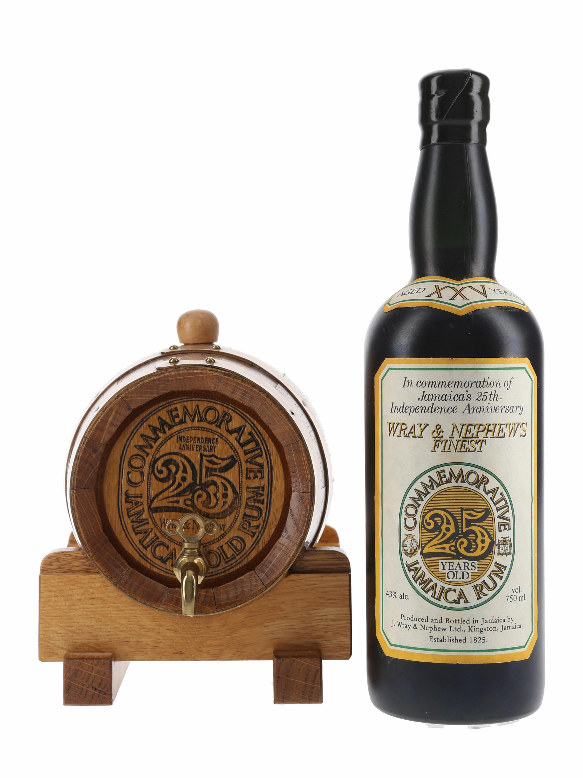 Wray & Nephew 25 Year Old Commemorative Jamaica Rum With Barrel Bottled 1987