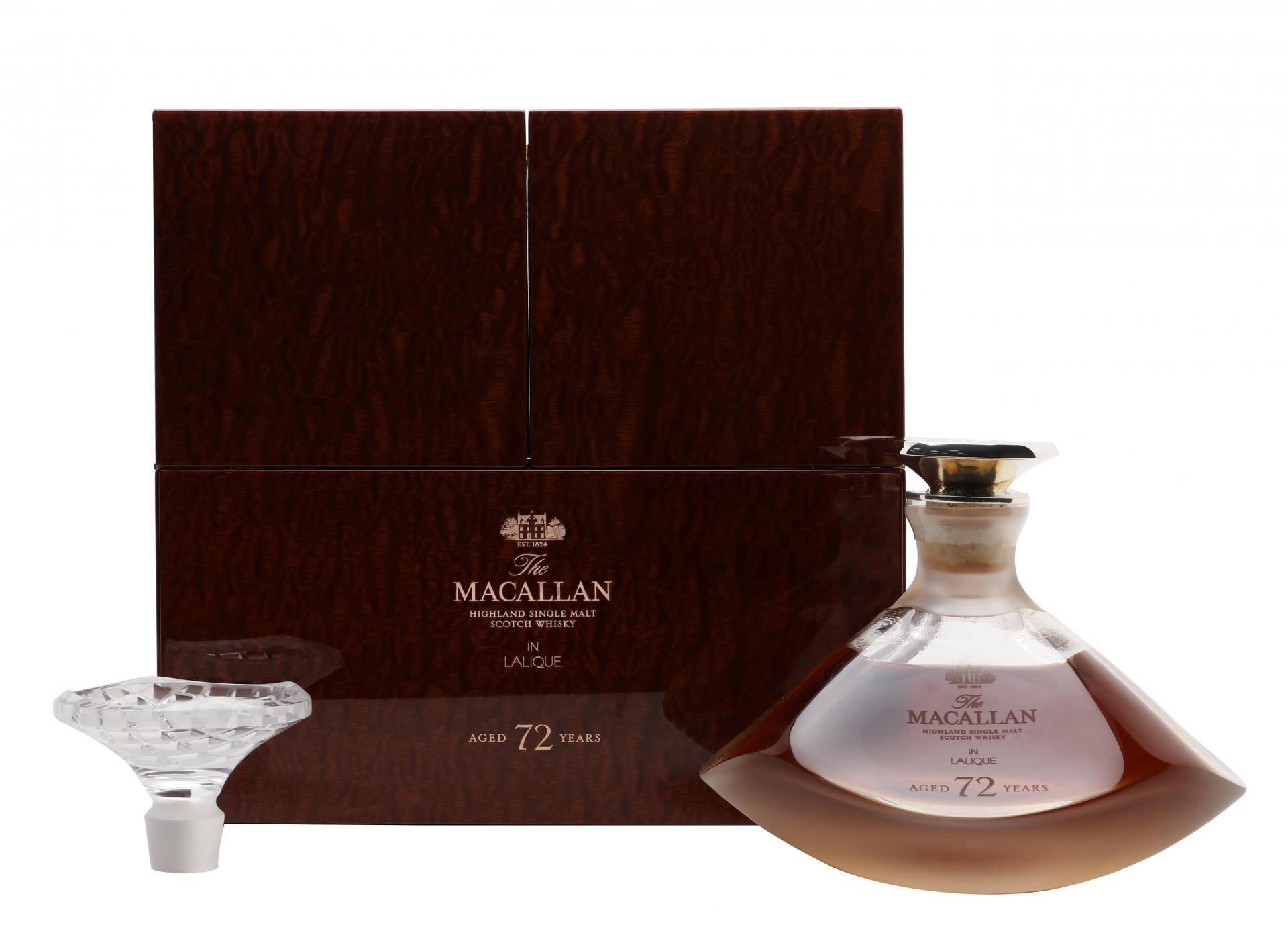 A bottle of The Macallan 72 Year Old in Lalique - The Genesis Decanter