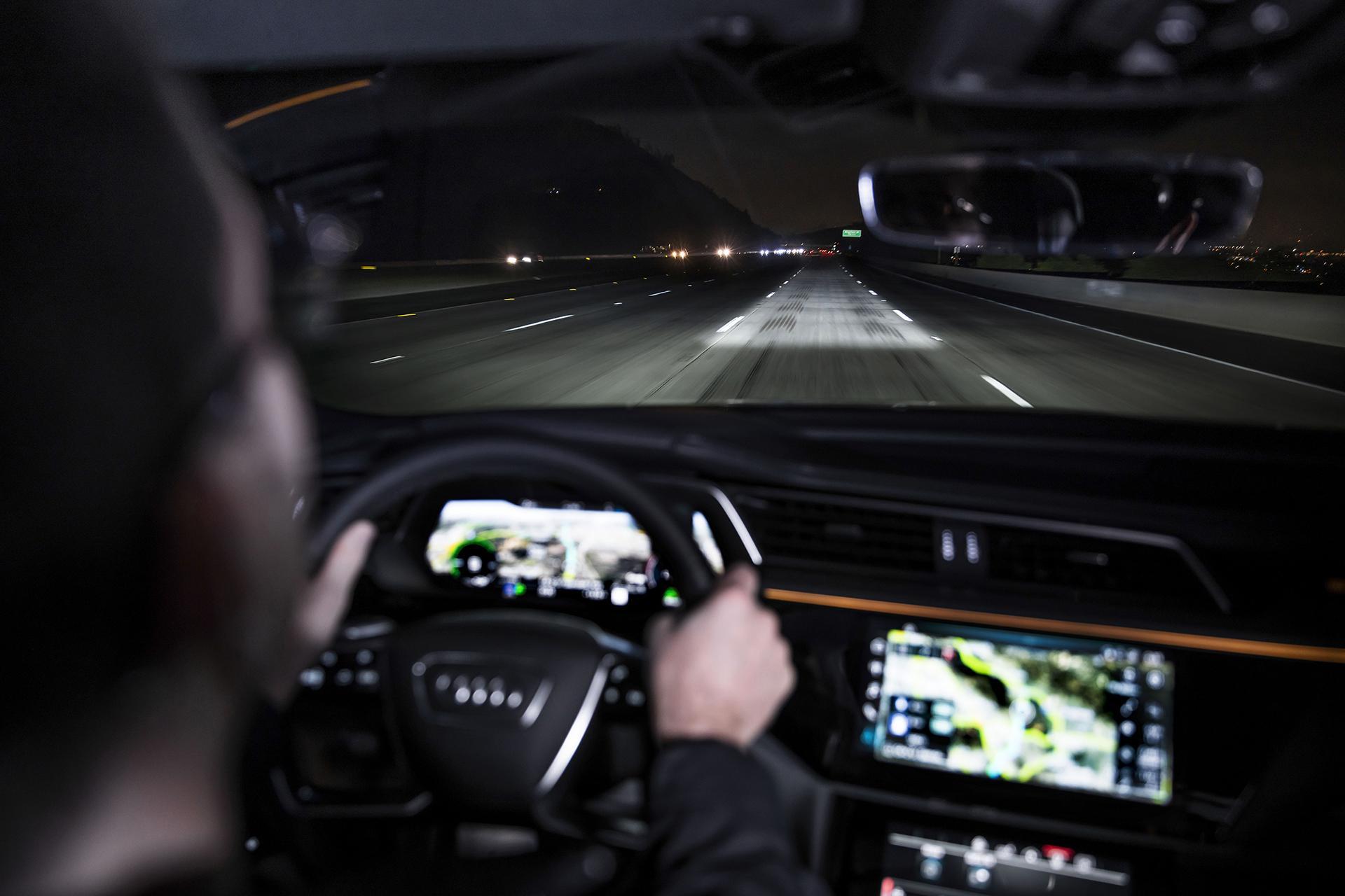 The new Audi e-tron Sportback 55 Quattro's digital matrix LED headlights