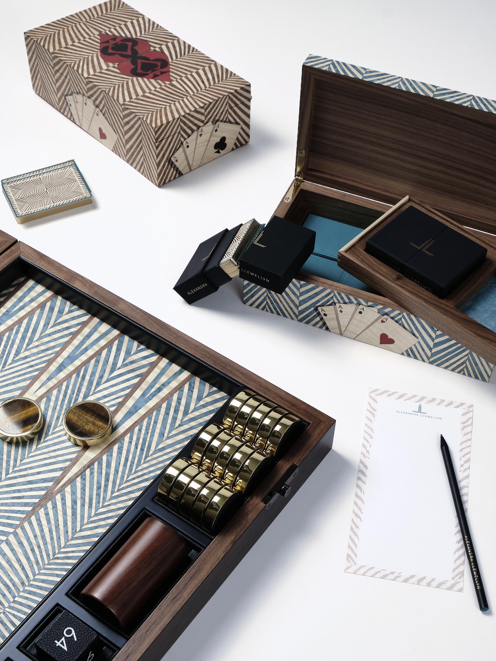Alexandra Llewellyn Signature Turquoise Abstract backgammon set