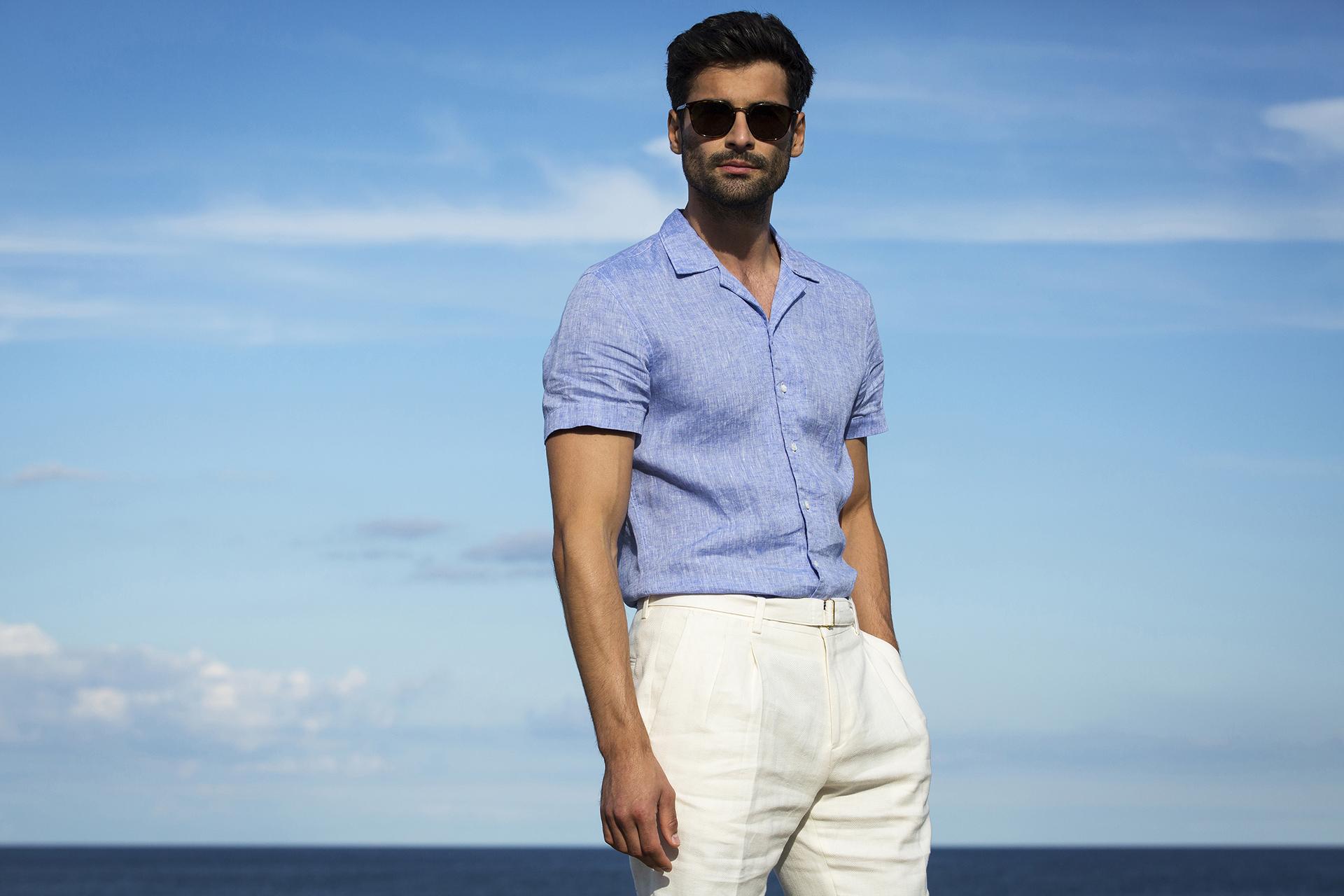 Stenstroms slimline linen resort collar short-sleeve shirt at £129