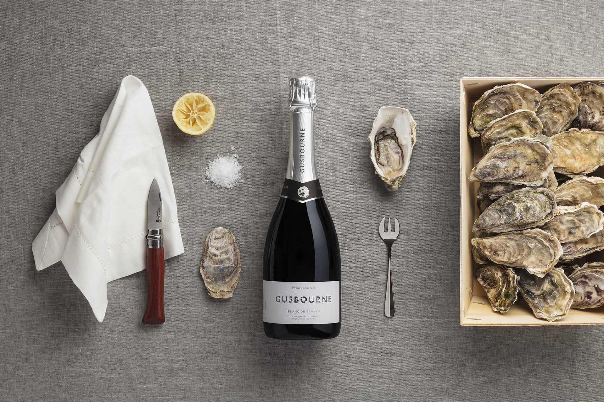 Gusbourne Blanc de blancs and oyster kit