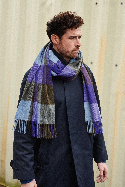 JOSHUA ELLIS Block check purple cashmere stole, £395