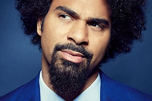 David Haye models blue Timothy Everest suit